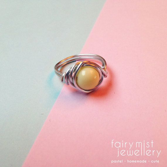 Pastel Ring Wire Wrapped Wirewrapped by fairymistjewellery on Etsy