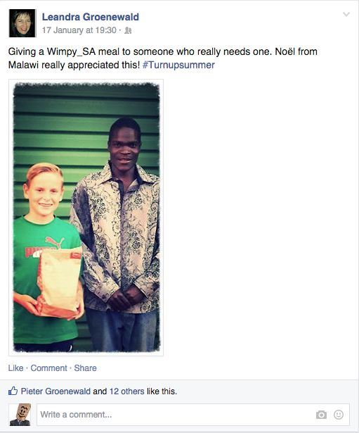 Leandra thought Noel from Malawi really needed a Wimpy meal #TurnUpSummer
