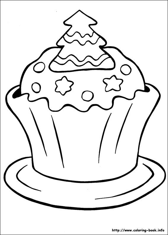 Christmas Cupcake Coloring PagesCupcakePrintable Coloring Pages