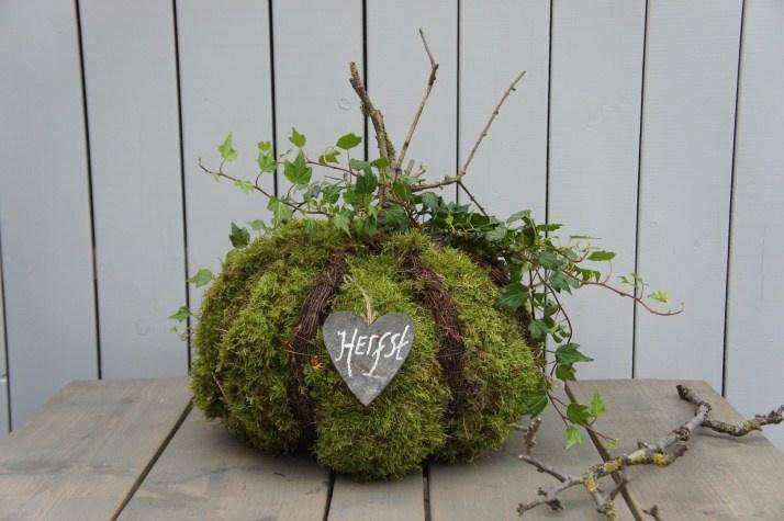herfst decoratie - Pompoen maken van een prop kranten plastic salim en mos