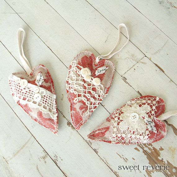 fabric and lace hearts by A Sweet Reverie - Primitive Shabby Chic Valentine Hanging Heart of door asweetreverie