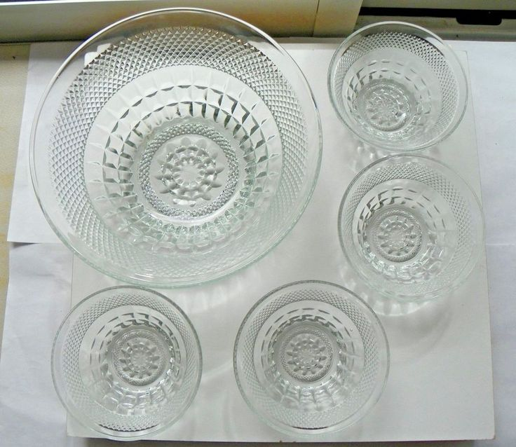 ITALY EMBOSSED DIAMOND CUT PRESSED GLASS CRYSTAL 5 PIECE SALAD BOWL SERVING SET #Italy