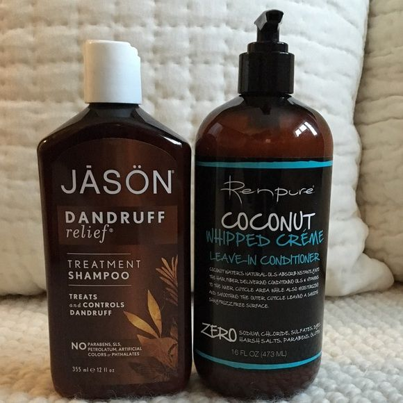 Jason Shampoo & Renpure Leave-in Conditioner NWOT! Great smelling hair products! Dandruff shampoo: active ingredient sulphur 2.0%, salicylic acid 2.0%; shampoo contains NO parabens, SLS, petrolatum, artificial colors, or phthalates. Leave-in conditioner is safe for color treated hair. Coconut oil is used because of it's unique ability to penetrate the cuticle layer to deliver vital moisture to dry, damaged hair. Conditioner contains no sodium chloride, sulfates, dyes, harsh salts, parabens…