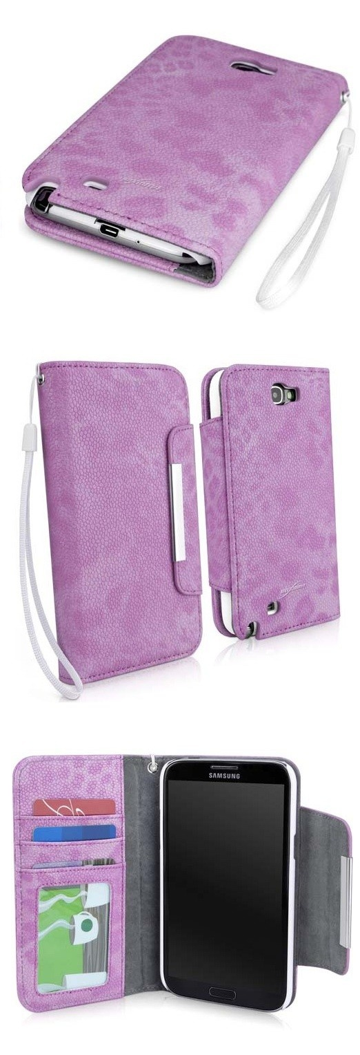 Toned Cheetah Print on Pebble Leather  Wallet Galaxy Note 2 Case --- from BoxWave