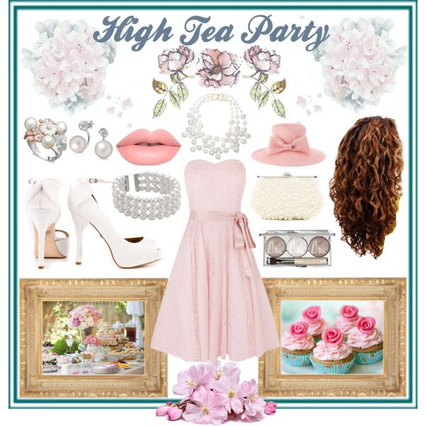 High Tea Party. by amy-b1988 on Polyvore featuring polyvore fashion style Kaliko Badgley Mischka Natasha Accessories Kenneth Jay Lane Bling Jewelry John Lewis Marie Mercié Chantecaille Lime Crime