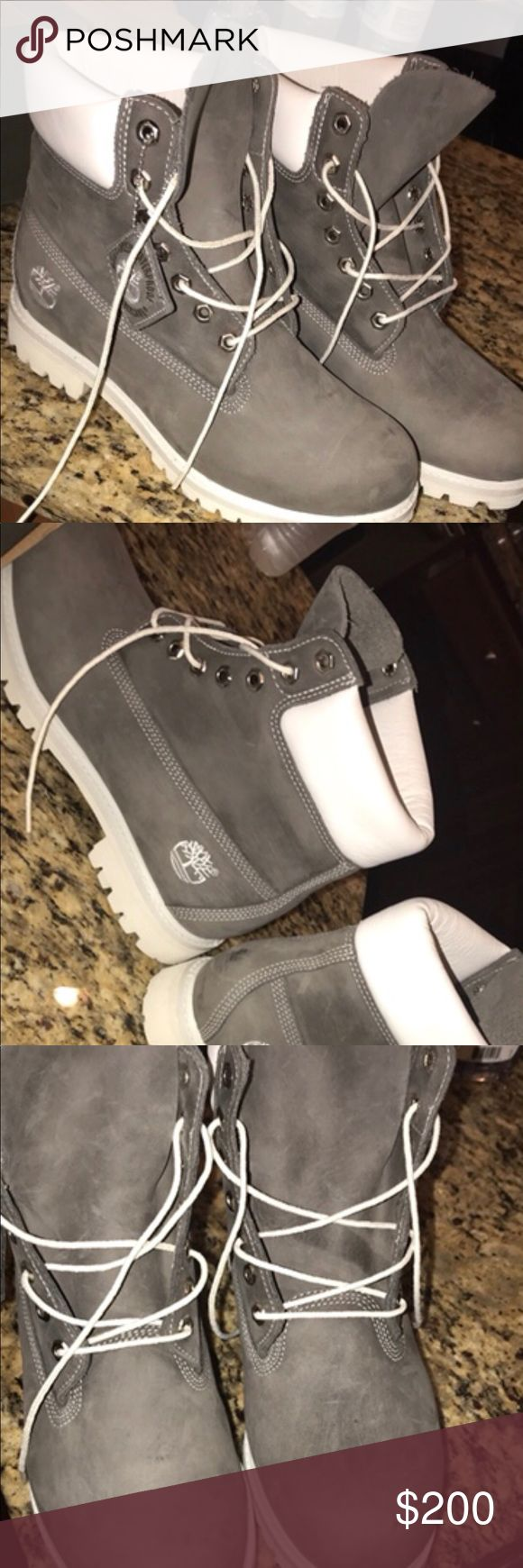 white and light grey custom timbs White and grey timbs. Never been worn made from the timberland website. Got them for close to $300. Asking for atleast $180-$200. Brand new sise 9 in men 11 in women Timberland Shoes Boots