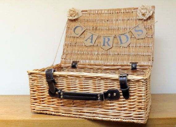 Large Rustic Wedding Card Basket Bunting Cards By Aphroditebridal Memory Jar For 60th Birthday Pinterest And