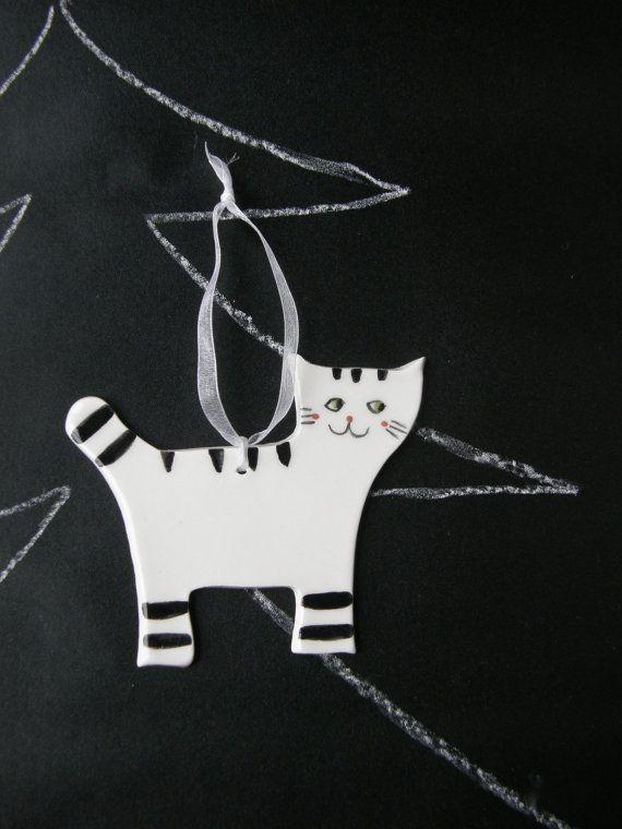 White and Black  Cat Ceramic Christmas Ornament by TatjanaCeramics, $7.00