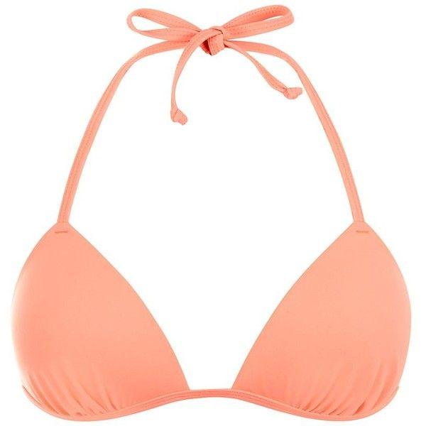 Coral Moulded Triangle Bikini ($11) ❤ liked on Polyvore featuring swimwear, bikinis, coral, bikini two piece, triangle swimsuit top, coral bikini top, swimsuits tops and tankini tops