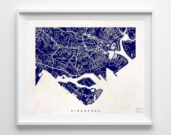 Singapore Map Asia Poster Asian Print Beautiful by InkistPrints - $19.95 - Shipping Worldwide! [Click Photo for Details]