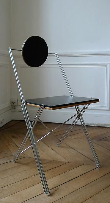 RENE JEAN CAILLETTE Folding Chair R.J.C., 1986 Chromed steel, lacquer 29.53 H x 17.32 x 16.54 inches 75 H x 44 x 42 cm Edition VIA Diffusion 1986