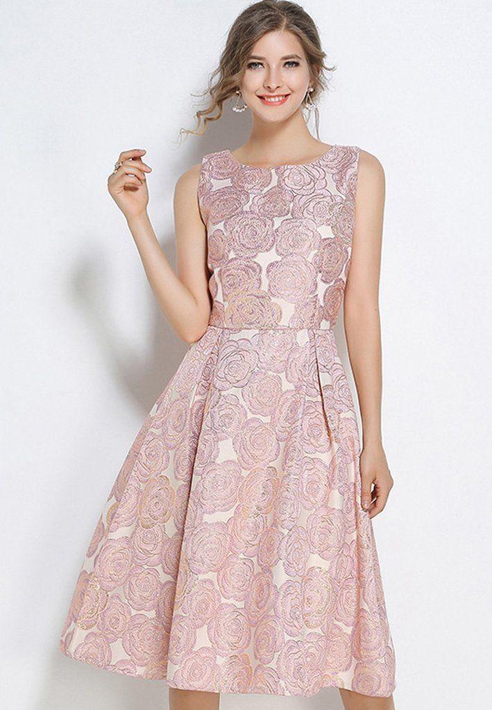 a83cea573b Sleeveless Jacquard Big Swing Dress in 2018