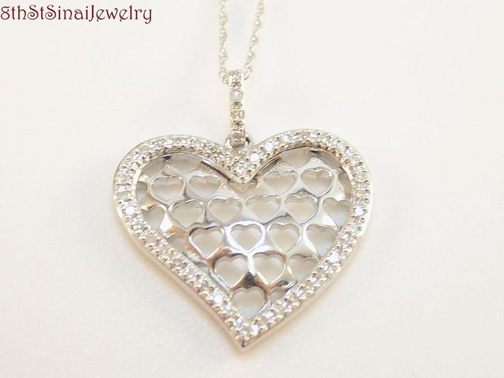 "NOS 14K White Gold Diamond Heart w/Hearts Pendant 18"" 14K Gold Chain Necklace #Unbranded #PendantonChain"