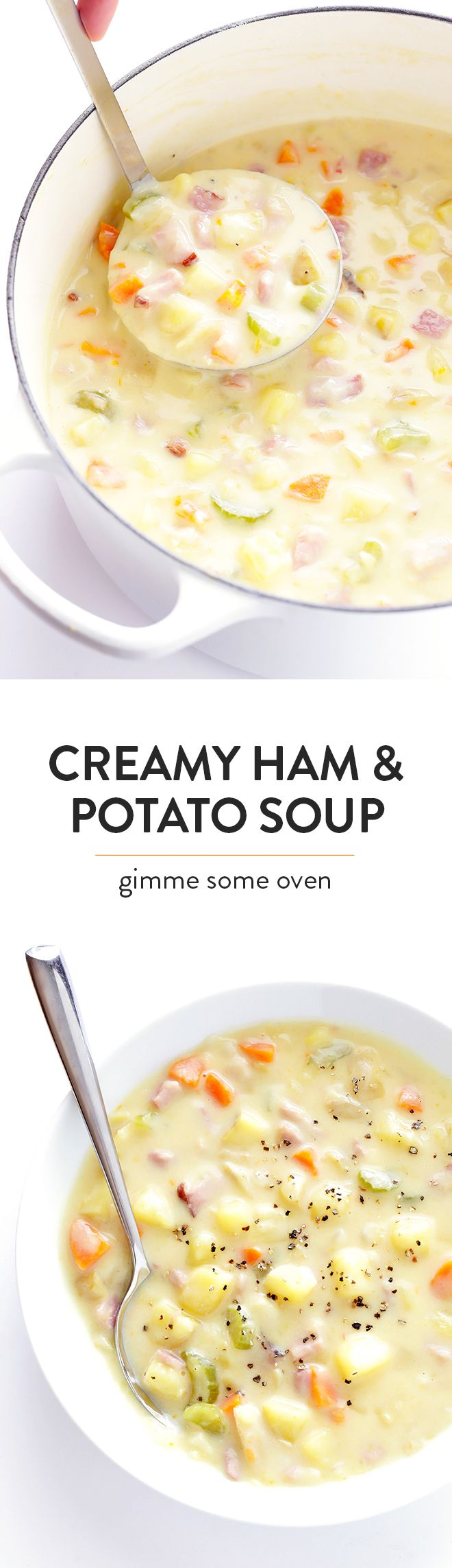 This Creamy Ham and Potato Soup recipe is easy to make, ready to go in about 30 minutes, and SO flavorful and creamy and delicious! | gimmesomeoven.com