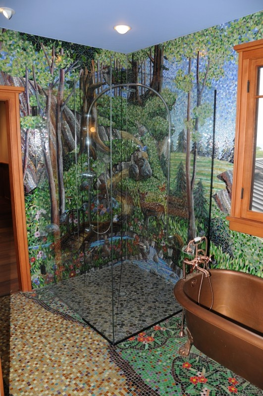 mosaic bathroom, this would take care of the fantasy of outdoor bathing