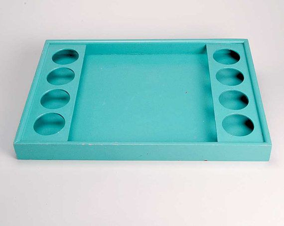 Vintage midcentury wooden turquoise drinks tray by msmichiganroux