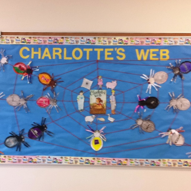 Charlotteu0027s Web Bulletin Board: The Web Is Made Of Yarn Stapled To The Board  And