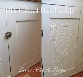 DIY:  How to Give Cabinet Doors a Facelift with Embossed Wallpaper - this is an easy and inexpensive way to spruce up cabinets, drawer fronts, furniture, etc. - via Petite Michelle Louise
