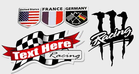 Advertising car racing stickers through racing competitions