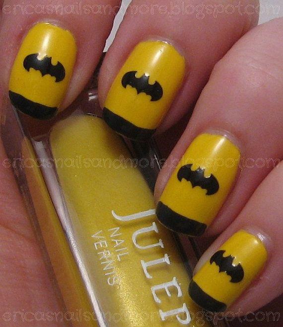 Best 25 batman nail designs ideas on pinterest batman nails bat logo nail decals set of 50 you choose color prinsesfo Image collections