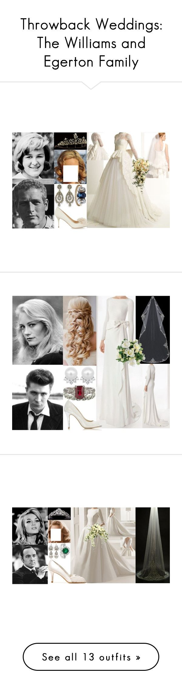 """""""Throwback Weddings: The Williams and Egerton Family"""" by marywindsor ❤ liked on Polyvore featuring outerwear, coats, white coat, Zuhair Murad, TIARA, Nina, Rosa Clará, Wallis, Guide London and Blue Nile"""