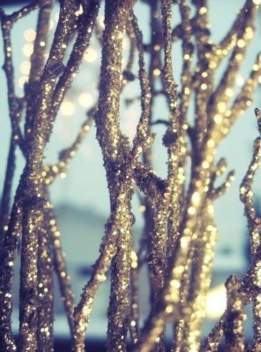 DIY: Sparkle Branches   Happily Ever Borrowed. Love this and perfect for my new gift of martha stewart glitter collection! thanks @Ashly Simmons !