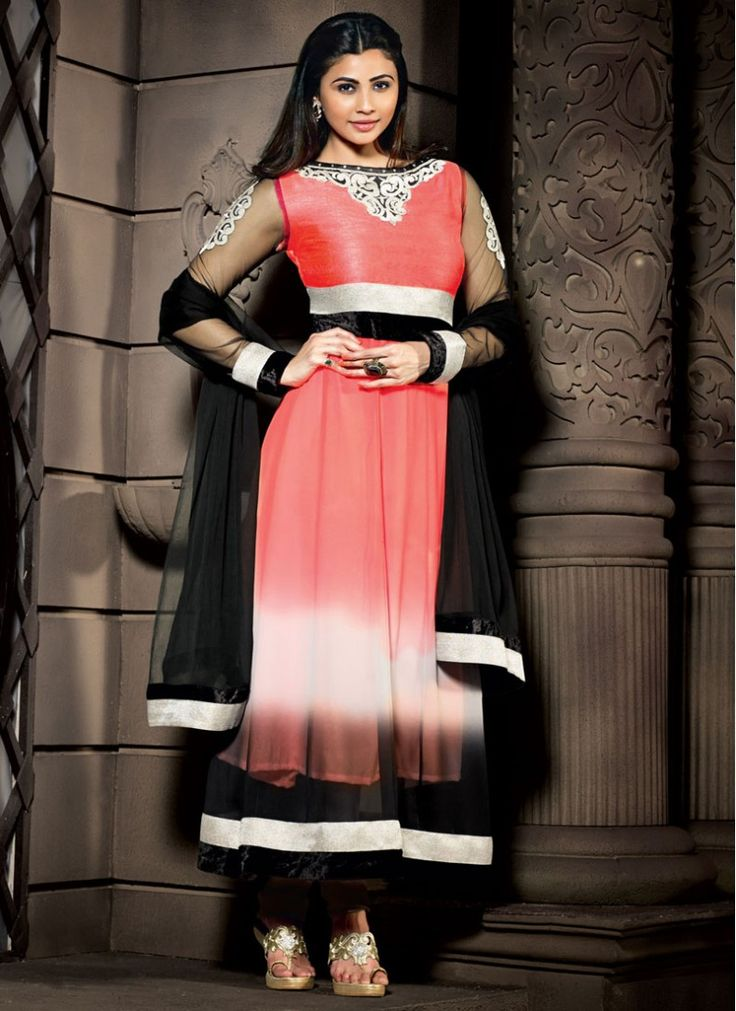 Daisy Shah Black and Pink Georgette Designer Churidar Suit