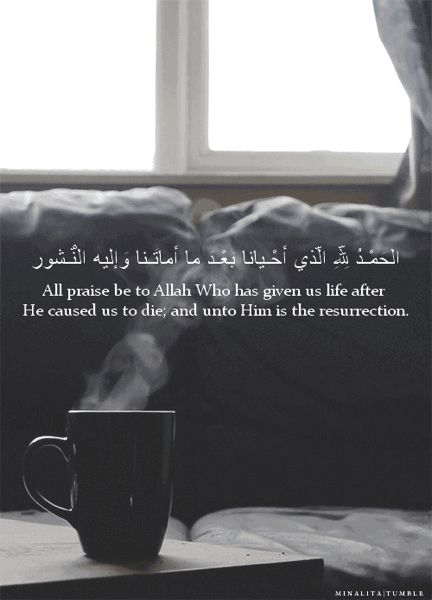 """•✦.¤.✦• { DUA MORNING } •✦.¤.✦• When the Prophet ﷺ got up in the morning, he used to say : """" All praise be to Allah Who has given us life after He caused us to die; and unto Him is the resurrection """" """"Alhamdu lillahi al-ladhi ahyana bada ma amatana wa ilaihi-n-nushur""""  الحَمْـدُ لِلّهِ الّذي أَحْـيانا بَعْـدَ ما أَماتَـنا وَإليه النُّـشور ♡"""