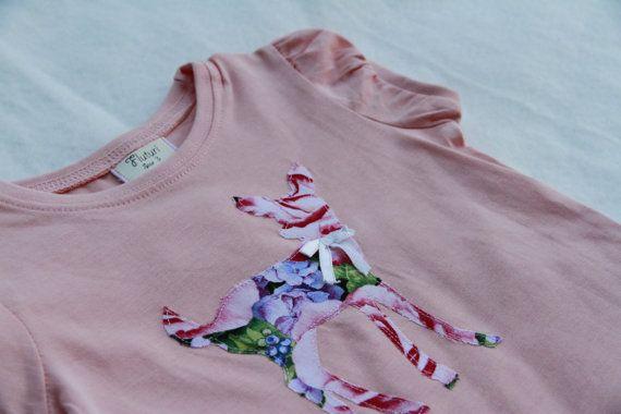 Deer Applique Girls Peach  Top with Vintage Lace Sz 3
