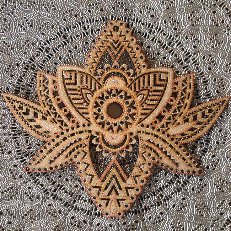 Hand painted, henna inspired wooden Lotus Flower wall hanging - measuring 30cm in width. #handpainted #henna #mandala #lotus #lotusflower #bohemian #bohemianhome #bohemiandecor #boho #indiandecor #homedecor #interiordesign #bohemianwedding #bohowedding #weddingdecor #wildminds #capetown #southafrica