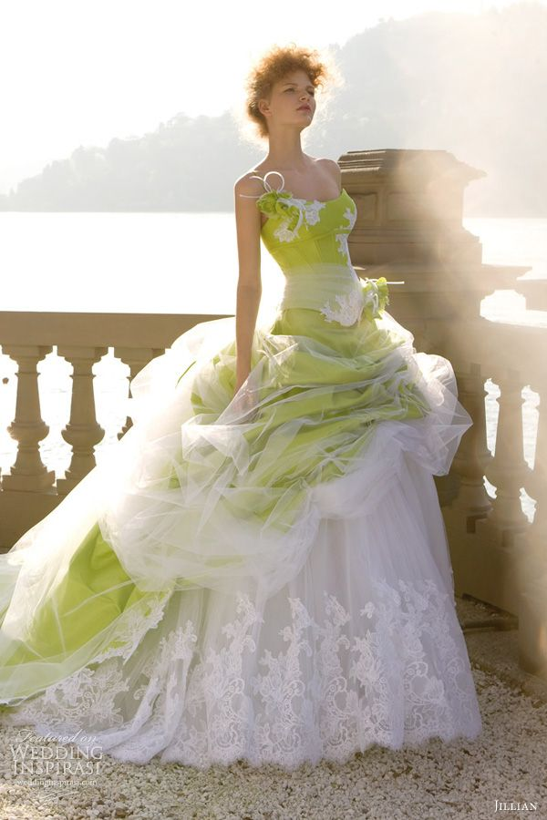 #Green wedding dress... Wedding ideas for brides, grooms, parents & planners ... https://itunes.apple.com/us/app/the-gold-wedding-planner/id498112599?ls=1=8 … plus how to organise an entire wedding, without overspending ♥ The Gold Wedding Planner iPhone App ♥