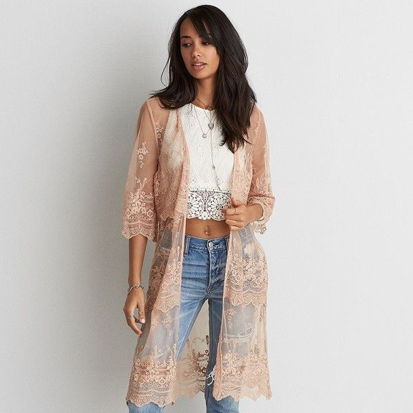 AE Embroidered Mesh Kimono ($60) ❤ liked on Polyvore featuring intimates, robes, pink, floral kimono, open front kimono, pink kimono, short kimono and kimono robe