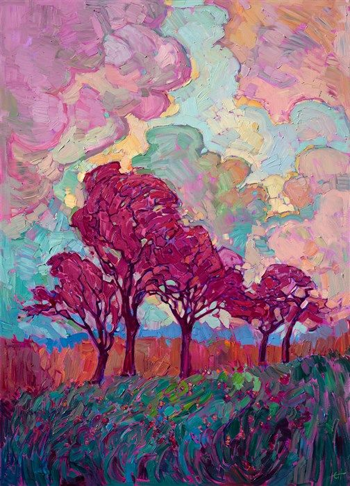 Texas hill country landscape oil painting by modern expressionistic painter Erin…
