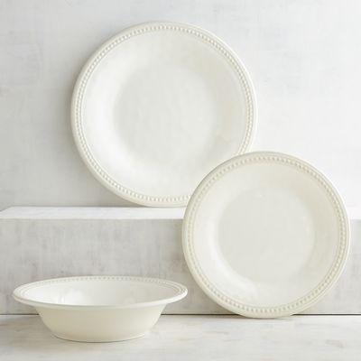 Beaded Cream Melamine Dinnerware   Pier 1 Imports