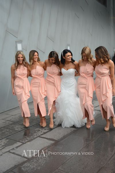 Michelle, the gorgeous bride dressed her bridesmaids in our Stellina Dresses in Peach. The Stellina Dress is a gorgeous full length dress by Australian designer Samantha Rose, a strapless style featuring 3D ruffle on the neckline and waist. Comes with thin straps that are detachable on the back so you can tuck them in to wear as a strapless dress.