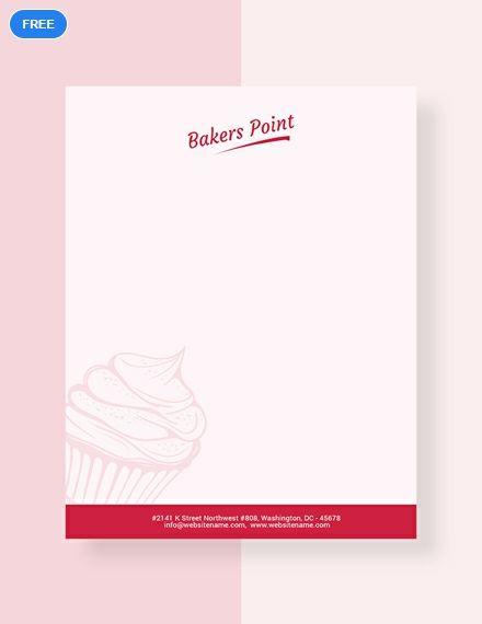 Free Bakery Letterhead graphic design Letterhead template
