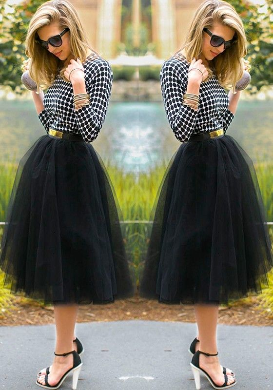 Black Plain Mesh Grenadine Draped Fluffy Puffy Tulle High Waisted New Faldas Adorable Tutu Midi Skirt - Skirts - Bottoms