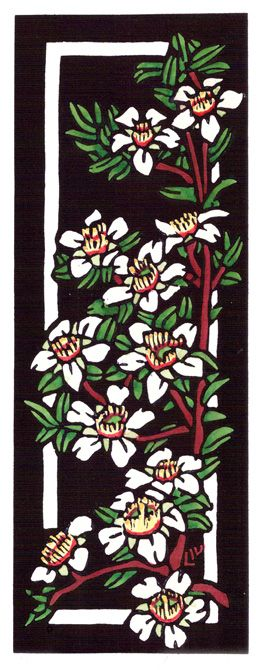 Deco Tea Tree - Art Deco inspired  - Limited Edition Handpainted Linocuts by Lynette Weir