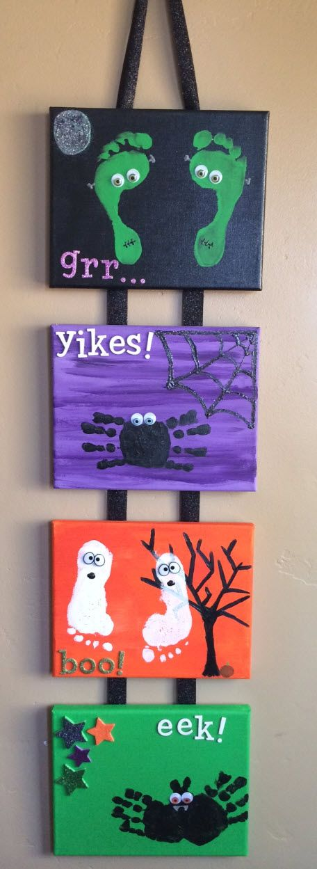 diy halloween craft for kids handprint and footprint canvas - Preschool Halloween Art Projects