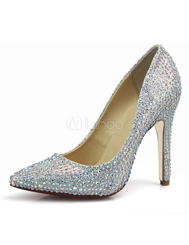 Glitter Silver Sequined Cloth Women's Pointed Toe Pumps - Milanoo.com