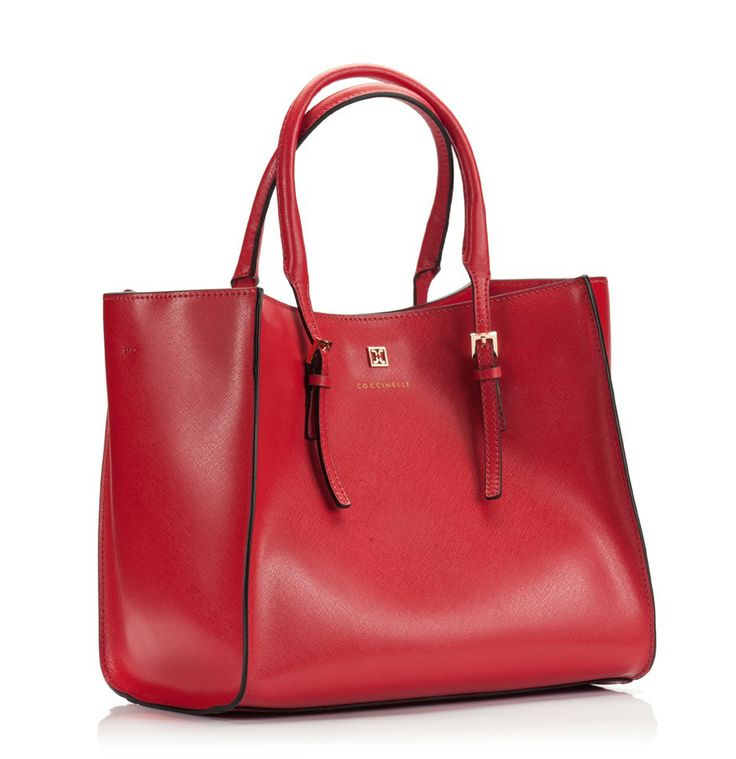 Coccinelle Red saffiano leather wide open wing mini tote bag