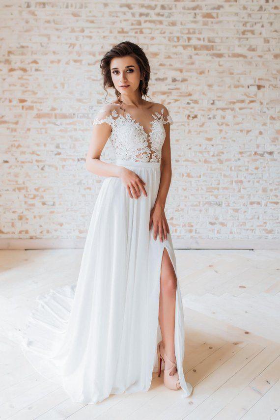 Brautkleid Boho-Stil Rock Schnitt Chiffon-Kleid Romantisches Kleid Natürliches Kleid …   – A miracle