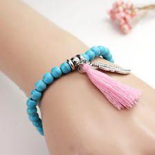 Turquoise Stone Beaded Bracelets Rope Tassel Leaf Charm Bracelet Jewelry