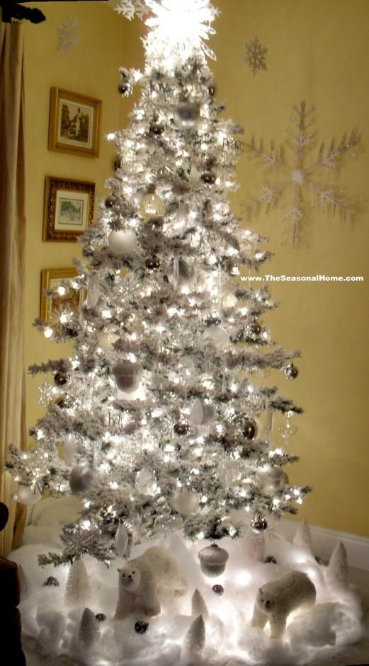Flocked Christmas Tree Decorating