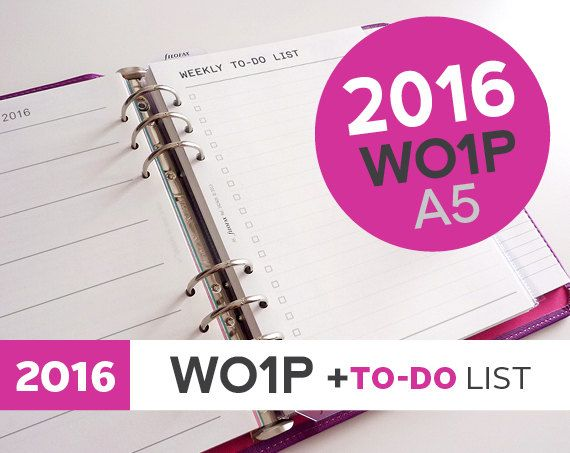 2016 WO1P Calendar with Weekly To-Do List A5 Size + Printing Helpsheets