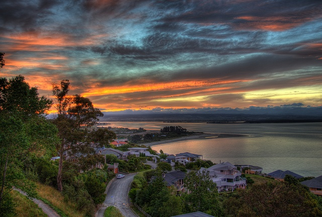 Sunset over Tahunanui Beach and the Cliffs, Nelson, New Zealand by AceNZ, via Flickr