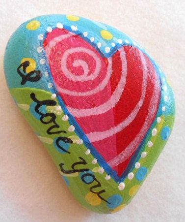 Valentine Hear Magnet Hand Painted Rock by SummerHouseGal on Etsy, $9.95