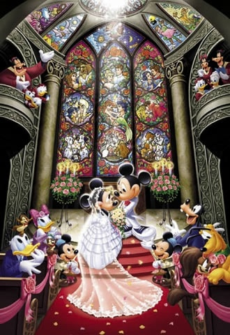 Mickey and Minnie's Wedding! The stained glass has Disney couples!