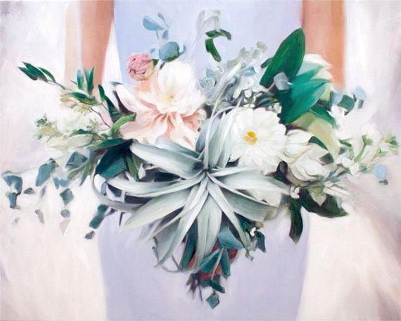 Wedding Bouquet Valentine's Day Gift for Wife Custom Flowers Painting #valentinesday Home Decor by AnastassiaArt MyOpenStudio.ca