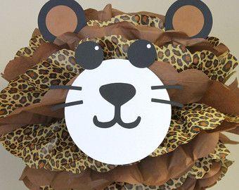 Safari de selva de leopardo Cheetah pom pom kit noahs Arca carnaval circo bebé ducha primer cumpleaños decoración del partido